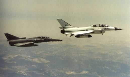 A Lavi in flight with an IAI Kfir, another indigenously-built Israeli fighter.