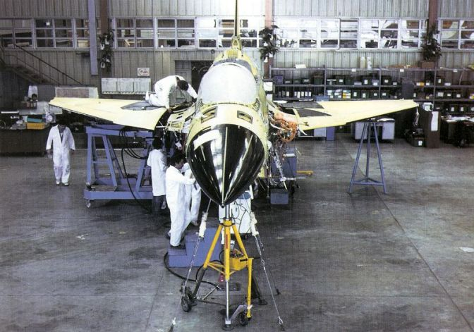 A Lavi in the assembly stage. 3 prototypes were built by IAI.