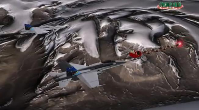 A screenshot of a Santa Tracker video from a previous year. The jet featured is a CF-188 Hornet of the RCAF.