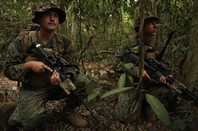 U.S. Marines with Company E, Battalion Landing Team, 2nd Battalion, 5th Marine Regiment, 31st Marine Expeditionary Unit, 3rd Marine Expeditionary Brigade. Photograph by LCpl Brennan O'Lowney, USMC.