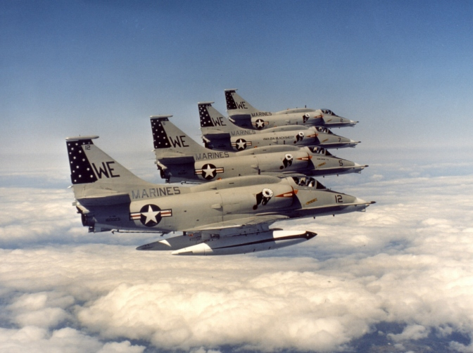 VMA-214 Skyhawks, similar to the one Foote flew. USMC photograph.