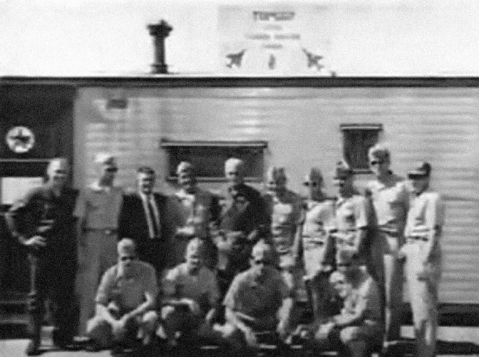 The original TOPGUN portable trailer and the first instructor staff at the prestigious school, 1969. US Navy photograph.