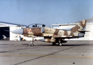 Aggressor A-4 Skyhawk. Notice the silhouette of a MiG-17 painted onto the Skyhawk for training purposes. US Navy photograph.