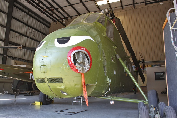 The UH-34D 'Chocksaw' has menacing eyes painted on the front. These were in use on the US Marine Corps machines during the Vietnam war.