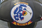 The nose art on this Huey is of the patch worn by member of the HA(L)-3 Seawolves squadron in the US Navy.