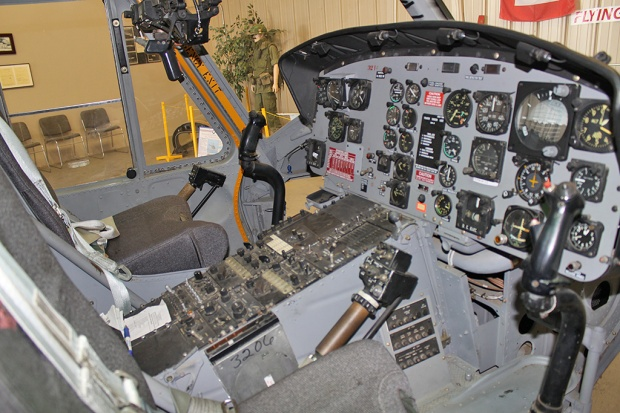 The cockpit of the UH-1 'Huey'. Great care and attention to detail is shown in the restoration.