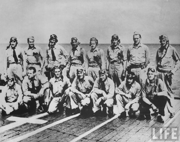 Pilots of Hornet's VT-8 shortly before battle of Midway. Standing (L-R): Owens, Ensign Fayle, Waldron, R.A. Moore, J.M. Moore, Evans, Teats, Cambell. Kneeling (L-R): Ellison, Kenyon, Gray, sole survivor Gay, Woodson, Creamer, Miles