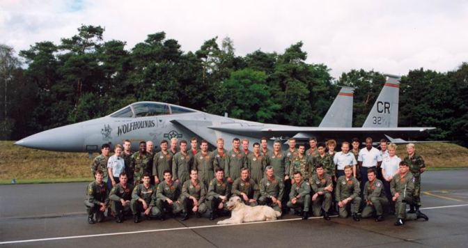 "1991 32 TFS group photograph. Capt D. ""Muddy"" Watrous is in the front row, farthest on the right. USAF Photograph."