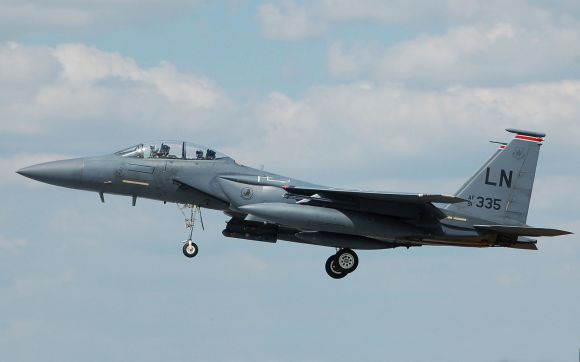 USAF McDonnell Douglas F-15E arrives for the 2014 Royal International Air Tattoo, England   Photo by Adrian Pingstone