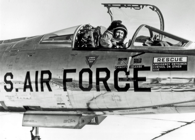 Chuck Yeager in the cockpit of an Lockheed NF-104 Starfighter December 4, 1963. (U.S. Air Force photo)