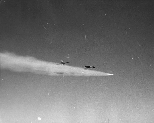 Hutchison and Barbee unleashing the Genie during Shot JOHN (National Nuclear Security Administration Photograph/Released)