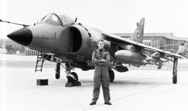 "Sub-Lt. Ian ""Soapy"" Watson with his Sea Harrier on dry land. (MoD Photograph)"