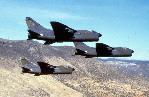 A-7 Corsair IIs of the 162d TFG. (Arizona Air National Guard Photograph/Released)