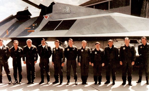 "4450th Tactical Group - F-117 Test Pilots. This picture was from ""F-117 Nighthawk Stealth Fighter Photo Scrapbook"" by Yancy Mailes and Tony R. Landis."