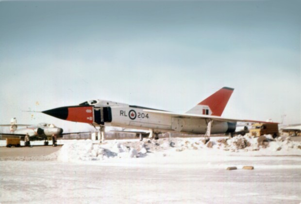 Avro CF-105 Arrow with CF-100 Canuck in background. (Photograph from the private collection of Don Rogers)