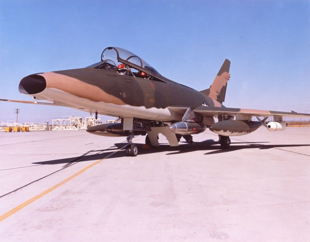 One of the F-100Fs converted to a Wild Weasel aircraft, Eglin AFB Fla., 1965. (U.S. Air Force)