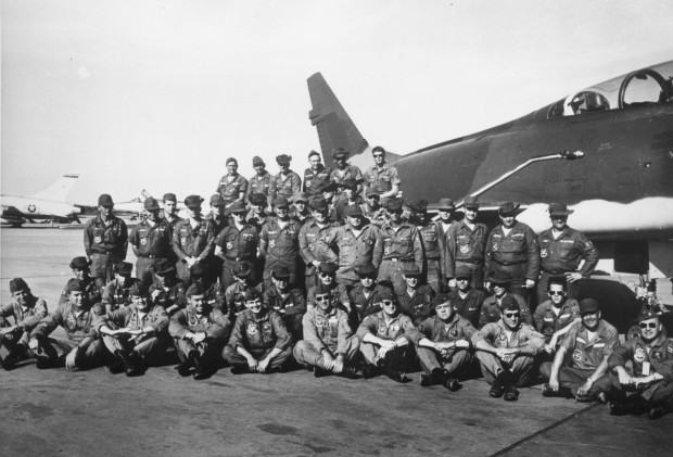 The pioneers—Wild Weasel Detachment, 6234th Tactical Fighter Wing, Korat, Thailand. The first Wild Weasel aircrews are (front, l to r): Capt. Walt Lifsey, Capt. Sandy Sandelius, Capt. Ed White, Maj. Garry Willard, Capt. Jack Donovan, Capt. Allen Lamb, Capt. John Pitchford, Capt. Maury Fricke, unknown and Maj. Bob Swartz (not pictured are Capt. Les Lindenmuth, Capt. Donald Madden and Capt. Robert Trier). (U.S. Air Force)
