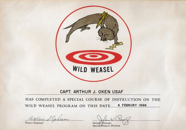 Certificate for Capt. Arthur Oken, who flew F-100F Wild Weasels out of Korat. (U.S. Air Force)