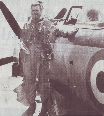 "Lieutenant Peter ""Hoagy"" Carmichael, Fleet Air Arm, Royal Navy. (Photograph courtesy of The Guardian newspaper)"