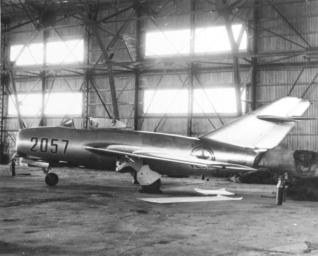 The Mikoyan Gurevich MiG-15bis of North Korean Senior Lt. No Kum-Sok in a hangar at Kimpo air base, South Korea, on 21 September 1953. Kom-Sok, who had long before decided to escape to South Korea, suddenly landed downwind at Kimpo Air Base near Seoul, South Korea, greatly surprising the personnel there. Within a day the plane was flown to Okinawa, today it is on display at the Museum of the United States Air Force in Dayton, Ohio. (USAF Photograph/Released).