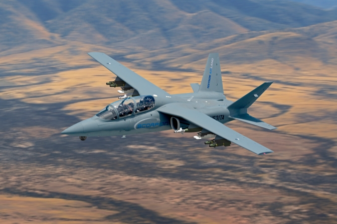 A Scorpion with a digitally-rendered external payload. (Textron AirLand Image/Released)