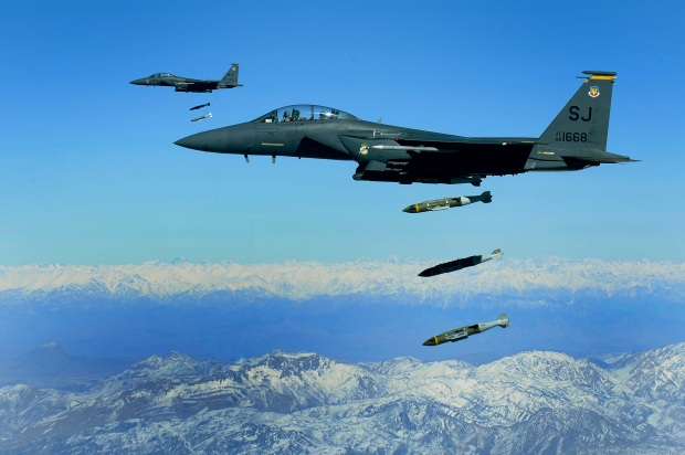 U.S. Air Force F-15E Strike Eagles, from the 389th Expeditionary Fighter Squadron, like the ones shown here, helped provide 176 consecutive hours of air support and drop more than 100 bombs in support of Operation Hammer Down II. Air Force close air support assets played a critical role in the success of the operation. (U.S. Air Force photo by Tech. Sgt. Michael B. Keller)