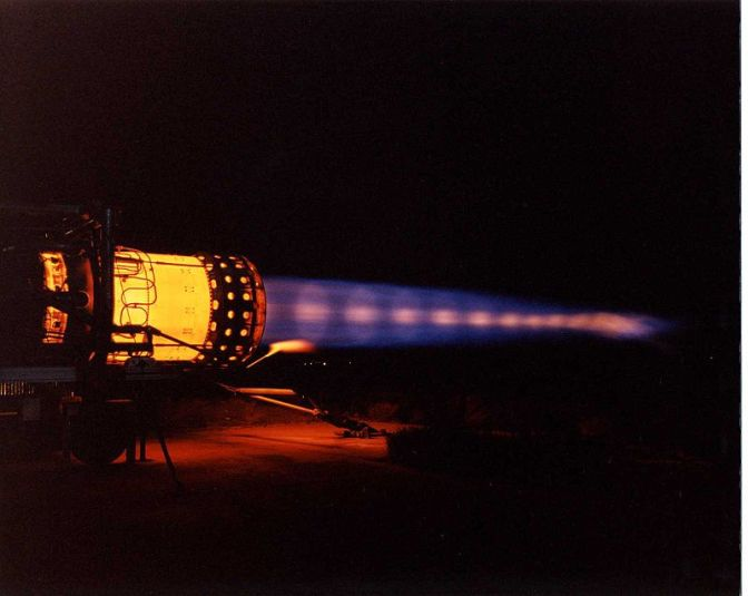 A J58 at full power. NASA photograph.
