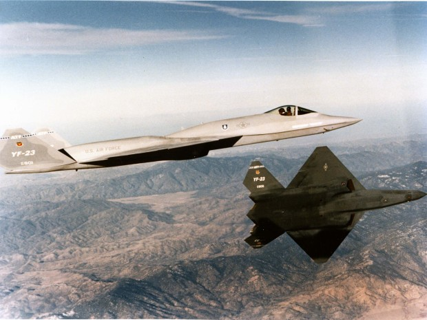 The only two Northrop-McDonnell Douglas YF-23 prototypes in flight. (U.S. Air Force photograph/released)