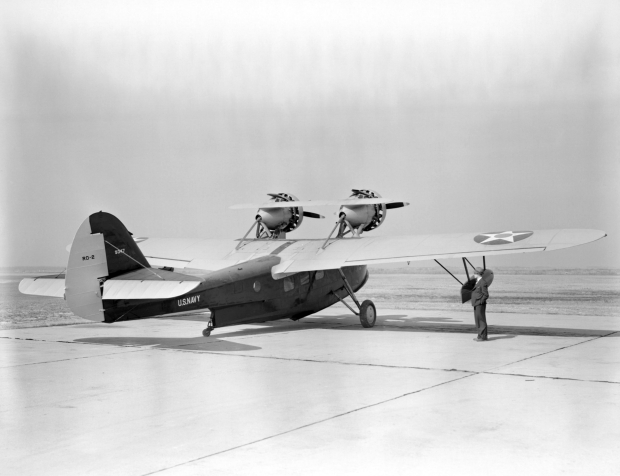 A U.S. Navy Douglas RD-2 Dolphin (BuNo 9347) at the Langley Aeronautical Laboratory at Hampton, Virginia (USA). Originally purchased with the presumed use as a Presidential aircraft, this Douglas RD-2 was turned over to the NACA in December 1939 without ever fulfilling its intended role. (U.S. Navy archival imagery)