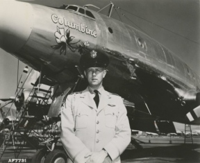 LtCol. William G. Draper stands with Columbine II in 1954. (U.S. Air Force file photo)