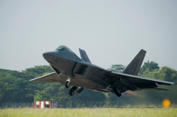 A U.S. Air Force F-22 Raptor from the 154th Wing, Joint Base Pearl Harbor-Hickam, Hawaii, takes off for an exercise sortie in support of Cope Taufan 14 at Royal Malaysian air force P.U. Butterworth, Malaysia, June 10, 2014. (U.S. Air Force photo by Tech. Sgt. Jason Robertson/Released)