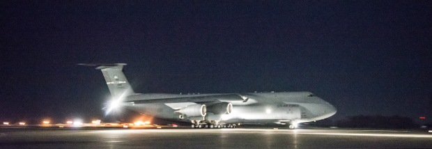 A C-5M Super Galaxy from the 22nd Airlift Squadron takes off from Travis AFB, California early April 3, 2015. The flight, which lasted approximately one hour, claimed 45 aeronautical records, positioning the U.S. military's largest airframe as the world's top aviation record holder with a total of 86 world records. (U.S. Air Force photo/Ken Wright)