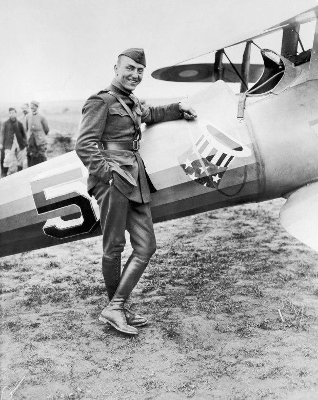 Eddie Rickenbacker with his Nieuport 28. Upon reporting to the 94th Aero Squadron, Rickenbacker was initially given an unarmed Nieuport as his primary aircraft, though soon after, it was outfitted with the standard double Vickers machine guns. (U.S. Army archival photograph)