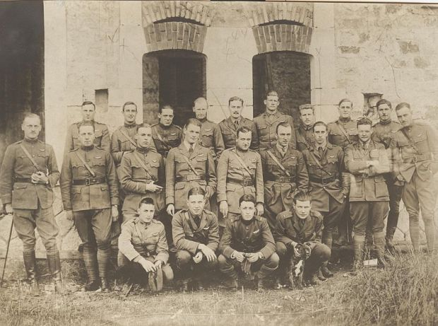"Pilots of the 94th Aero (Pursuit) Squadron in France, June 1918. Captain Edward V. ""Eddie"" Rickenbacker stands in the center row, fourth from the right. (U.S. Army archival photograph)"