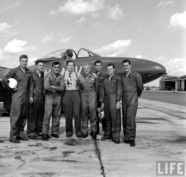 The Blue Angels flight team at NAS Whiting Field, circa 1949. LCDR Magda stands third from the left. (Copyright: Life Magazine)