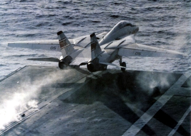 "A U.S. Navy Grumman F-14A-70-GR Tomcat (BuNo 158984) of Fighter Squadron VF-1 ""Wolfpack"" is launched from the aircraft carrier USS Enterprise (CVAN-65). VF-1 was assigned to Carrier Air Wing 14 (CVW-14) aboard the Big E for a deployment to the Western Pacific from 17 September 1974 to 20 May 1975. This was the first operational deployment of the F-14. (U.S. Navy/released)"