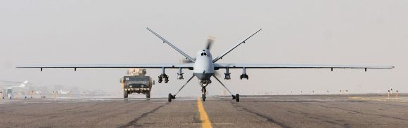 An MQ-9 Reaper takes off on a mission in Afghanistan. (U.S. Air Force/released)