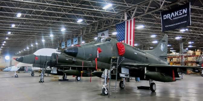 Draken International's A-4K Skyhawks and an Aero L-39 Albatross. (Photograph copyright: Howard Altman/The Tampa Bay Tribune)