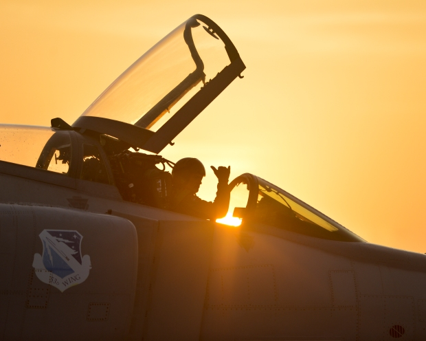 Lt. Col. Todd Houchins, 53rd Test Support Squadron commander, pilots the last 82nd Aerial Target Squadron QF-4 Phantom on Tyndall Air Force Base during the final take off, July 24. The QF-4 Phantom will travel to Holloman Air Force Base, N.M. (U.S. Air Force photo by Tech. Sgt. Javier Cruz/Released)
