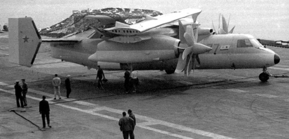 A mockup of the Yak-44 aboard the Admiral Kuznetsov for shipboard testing. The engines were non-functioning.