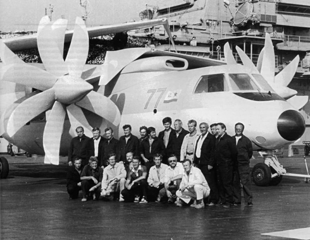 The only mockup of the Yak-44 ever built, aboard the Kuznetsov.
