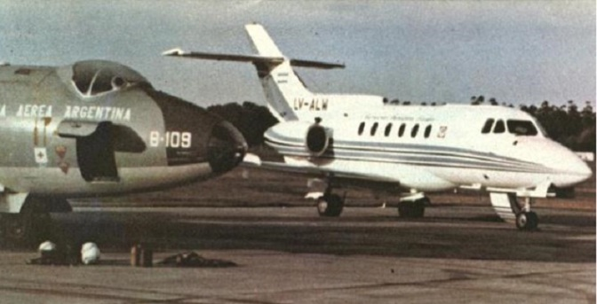 A Hawker Siddeley HS-125-700B (LV-ALW); one of a number of business jets pressed into Argentine military service with the Phoenix Squadron during the Falklands War. This particular aircraft was lost in 1985, three years after the end of the war, with the cause being controlled flight into terrain.
