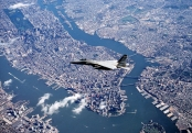 OPERATION NOBLE EAGLE -- An F-15 Eagle from the Massachusetts Air National Guard's 102nd Fighter Wing flies a combat air patrol mission over New York City in support of Operation Noble Eagle. More than 30,000 people in the ANG and Air Force Reserve have been called to active duty to support Operations Noble Eagle and Enduring Freedom. (U.S. Air Force photo by Lt. Col. Bill Ramsay)