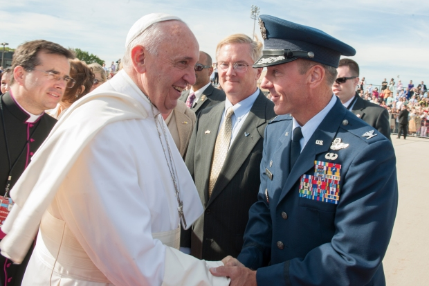 Col. Brad Hoagland, Joint Base Andrews commander, greets Pope Francis on the base flightline, Sept. 24, 2015. The pope will visit New York and Philadelphia during his U.S. trip before returning to Rome Sept. 27. (U.S. Air Force photo/Tech. Sgt. Robert Cloys)