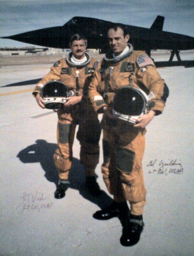 """The """"Last Flight"""" of a SR-71. In background SR-71 S/N 61-7972. Foreground Pilot Lt. Col. Raymond """"Ed"""" E. Yielding and REO Col. Joseph """"Jt"""" T. Vida March 6, 1990. (public domain image)"""