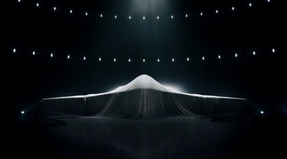 A screen capture taken from a Northrop Grumman commercial aired in early 2015, featuring what many believe to be a teaser of the company's LRS-B design proposal.