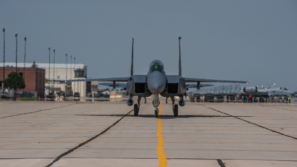 F-15E Strike Eagles from Mountain Home Air Force Base assigned to the 366th Fighter Wing arrive at Gowen Field, Boise, Idaho, Aug. 2, 2015. The 366th FW operated in Boise for more than three weeks while the runway at Mountain Home was being repaired. (Air National Guard photo by Tech. Sgt. John T. Winn/Released)