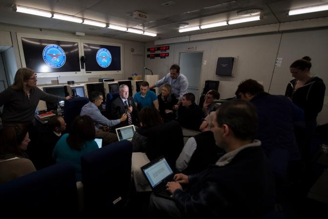 SD briefs media aboard E-4B