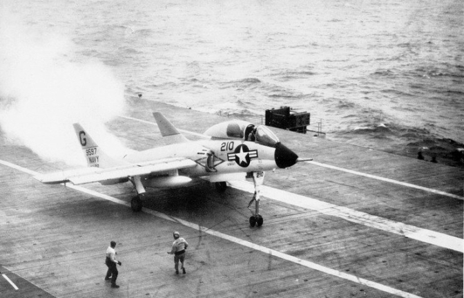 "A U.S. Navy Vought F7U-3 Cutlass (BuNo 129597) from Attack Squadron VA-212 ""Rampant Raiders"" aboard aircraft carrier USS Bon Homme Richard (CVA-31). (US Navy/released)"