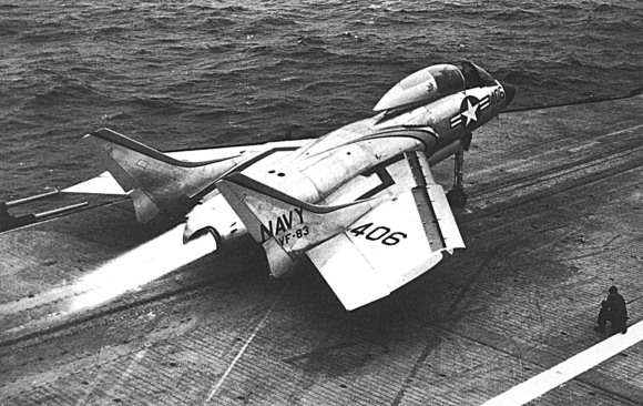 An F7U-3M Cutlass launching from the USS Intrepid, circa 1954. (US Navy/released)